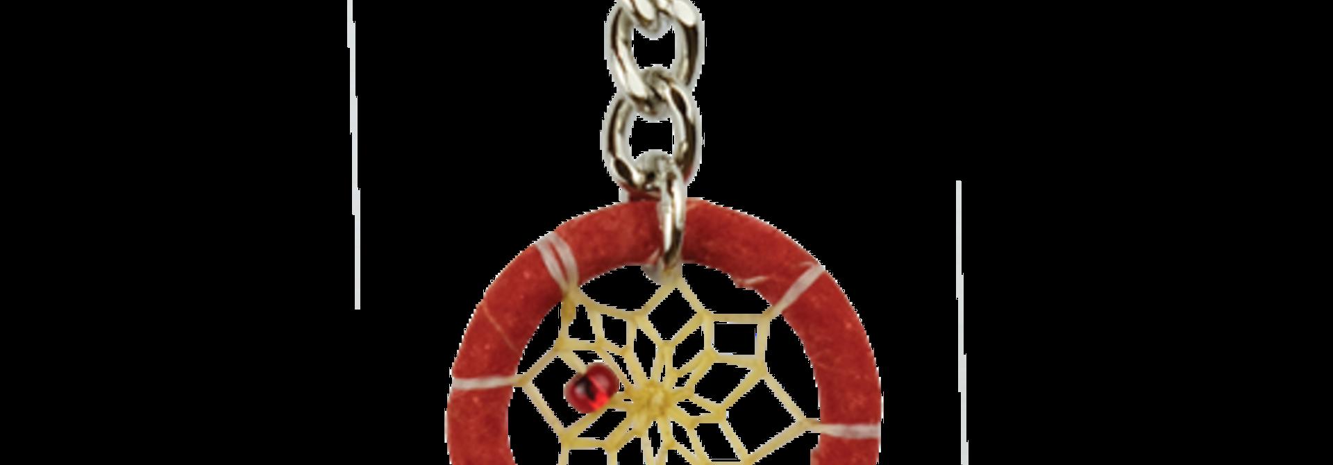 1.25  Dream Catcher Feather Keychain- Red