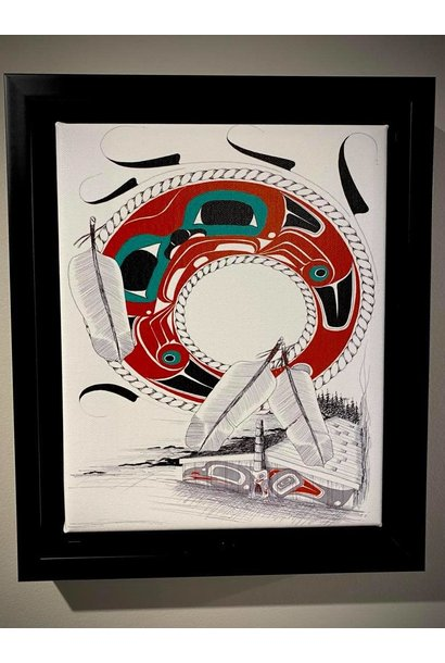 """10""""x12"""" stretched canvas-The Longhouse-Danny Dennis"""