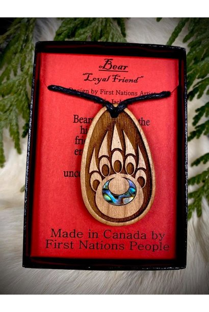 Wood Carved Pendant - Bear Paw