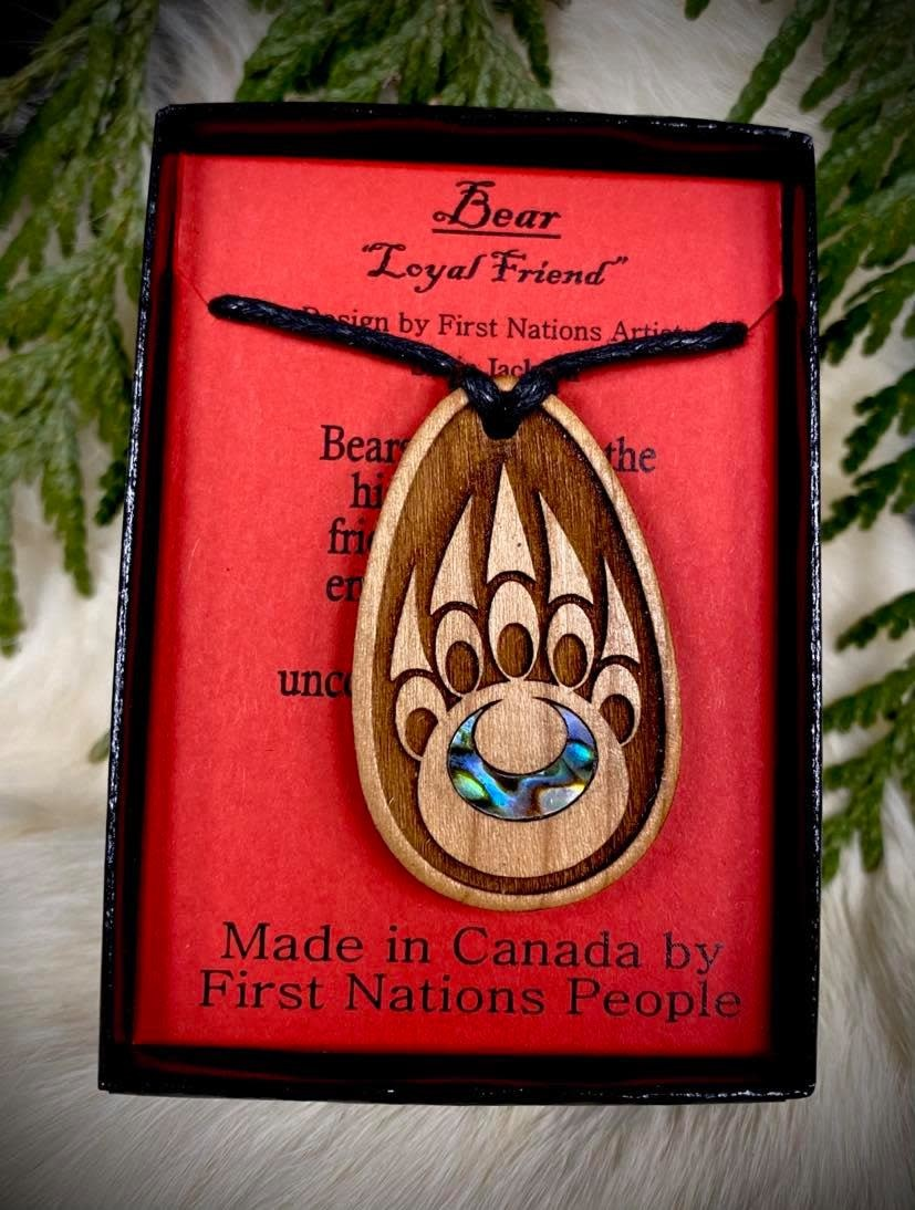 Wood Carved Pendant - Bear Paw-1