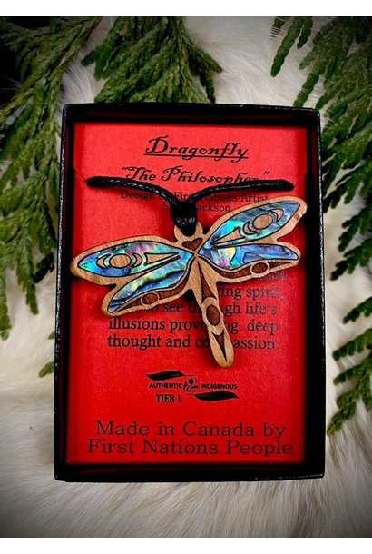 Wood Carved Pendant - Dragonfly