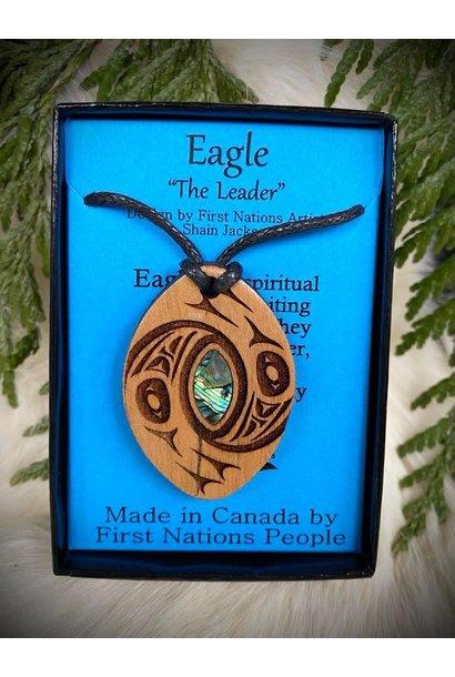 Wood Carved Pendant - Eagle