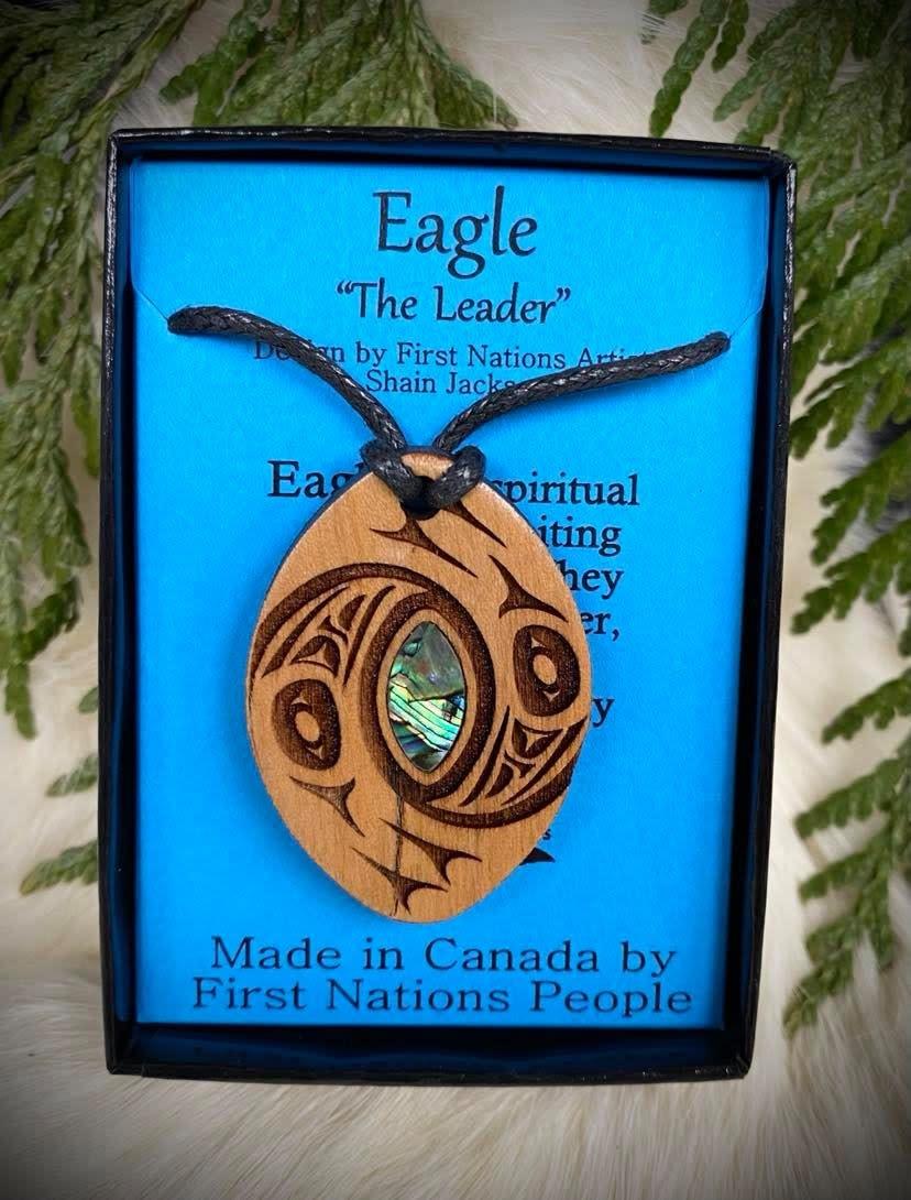 Wood Carved Pendant - Eagle-1