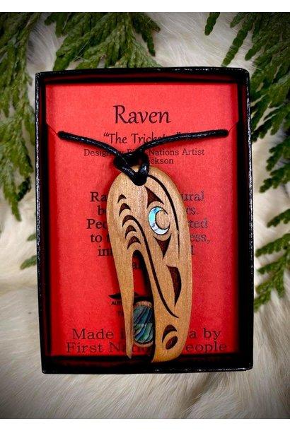 Wood Carved Pendant - Raven