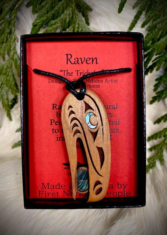 Wood Carved Pendant - Raven-1