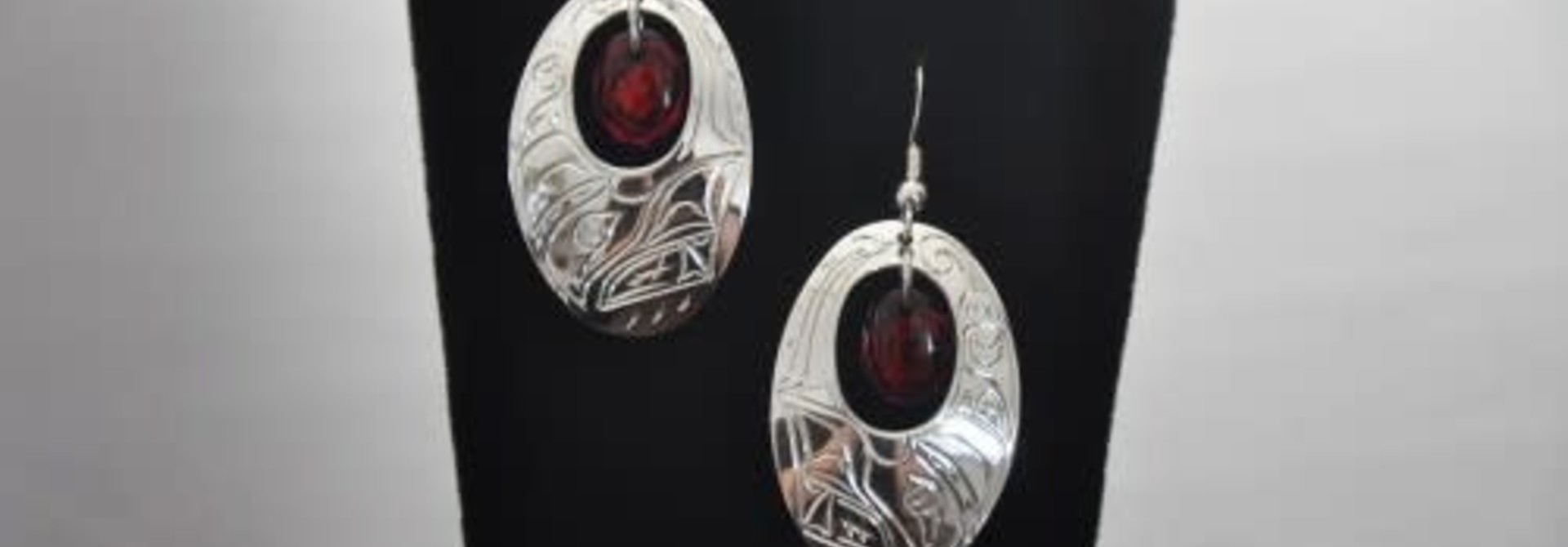Silver Carved Earrings with Red Paua Shell in Center- Eagle design