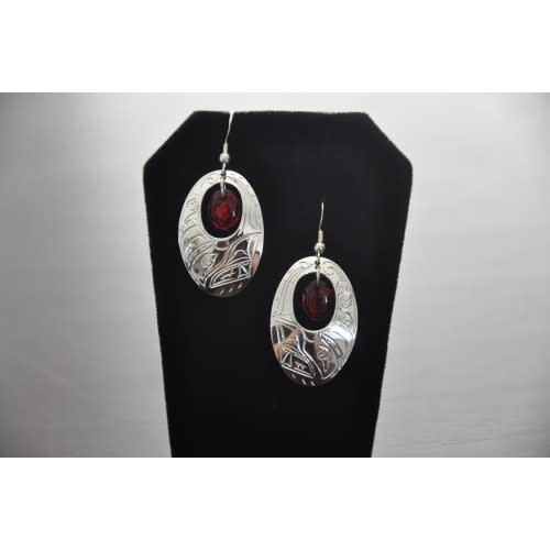Silver Carved Earrings with Red Paua Shell in Center- Eagle design-1