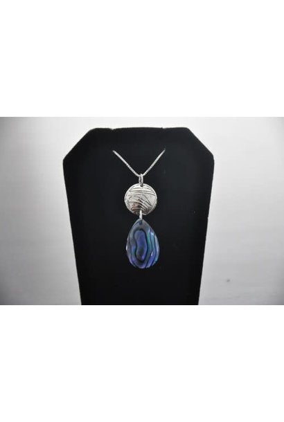 Silver Carved Eagle Pendant with Paua Shell by Nancy Dawson