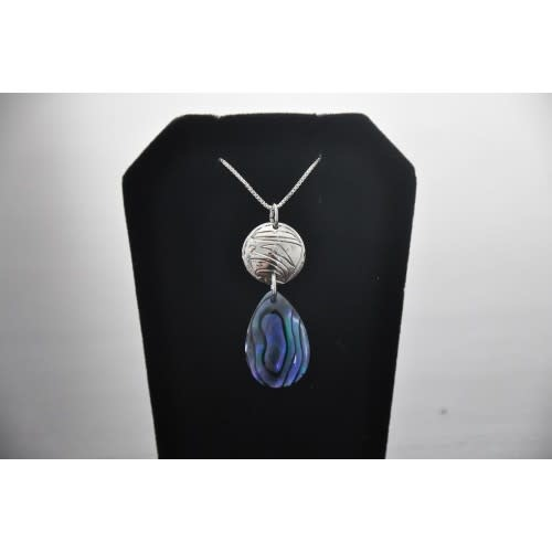 Silver Carved Eagle Pendant with Paua Shell by Nancy Dawson-1