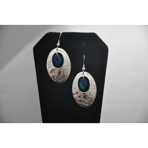 Silver Carved Oval Eagle Earrings with Blue Paua Shell by Vincent Henson-1