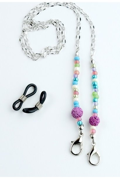 Beaded Lanyard with Lava Beads - Multi / PInk