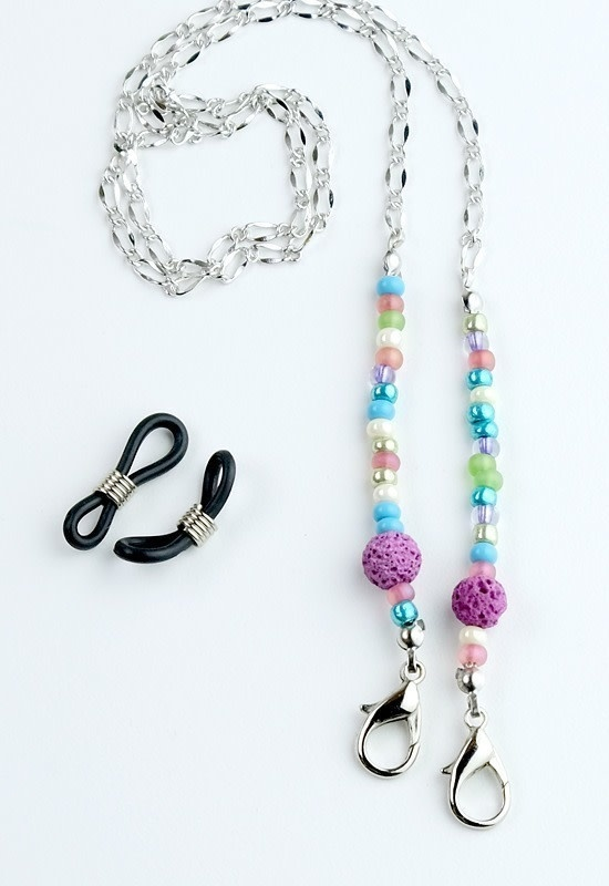 Beaded Lanyard with Lava Beads - Multi / PInk-1