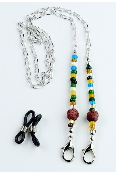 Beaded Lanyard with Lava Beads - Multi Color red