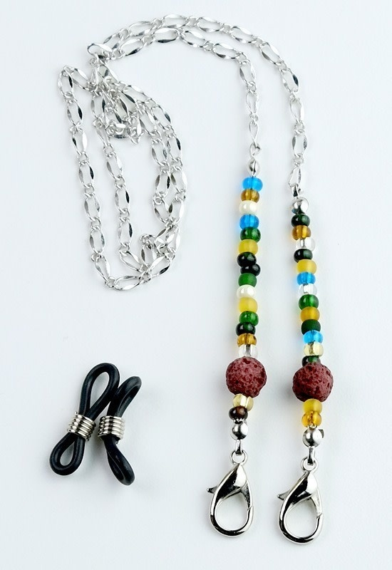 Beaded Lanyard with Lava Beads - Multi Color red-1