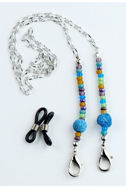 Beaded Lanyard with Lava Beads - Turquoise
