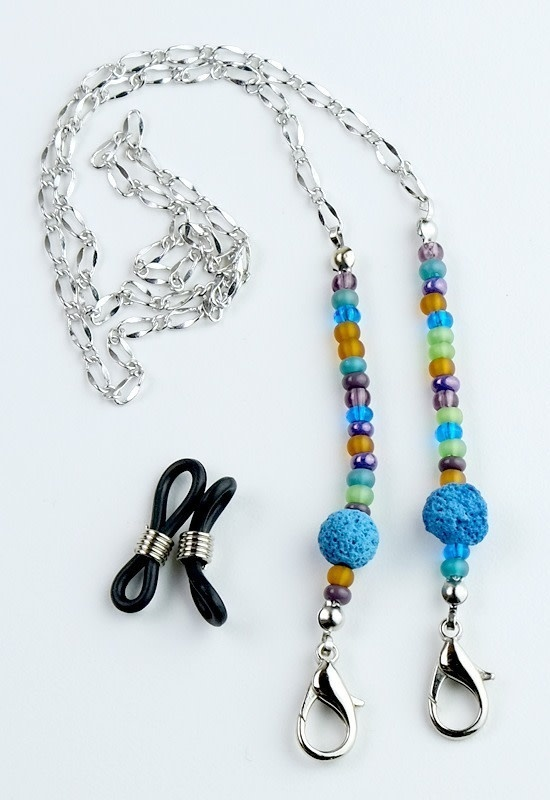 Beaded Lanyard with Lava Beads - Turquoise-1