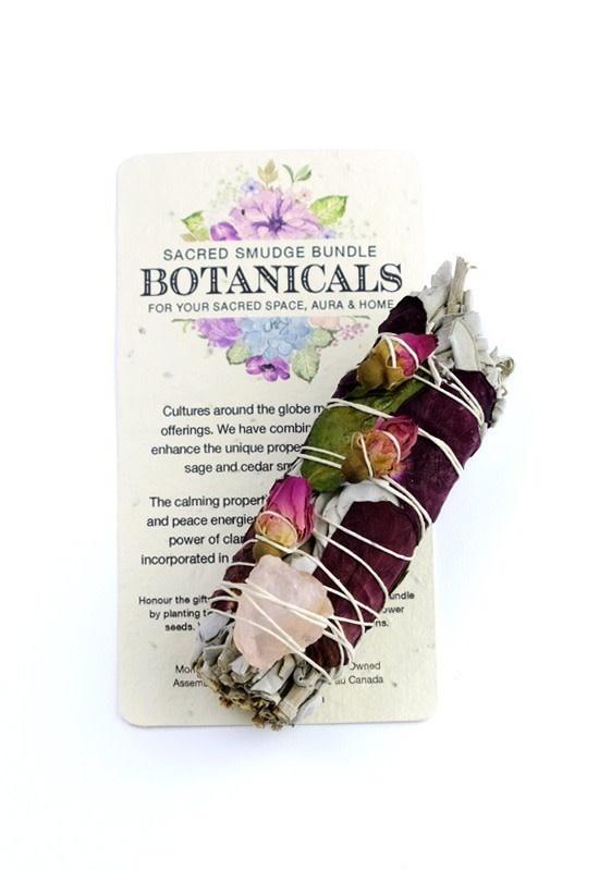 Botanical Smudge in Small  Sage, Rose Petals & Rose Quartz-1