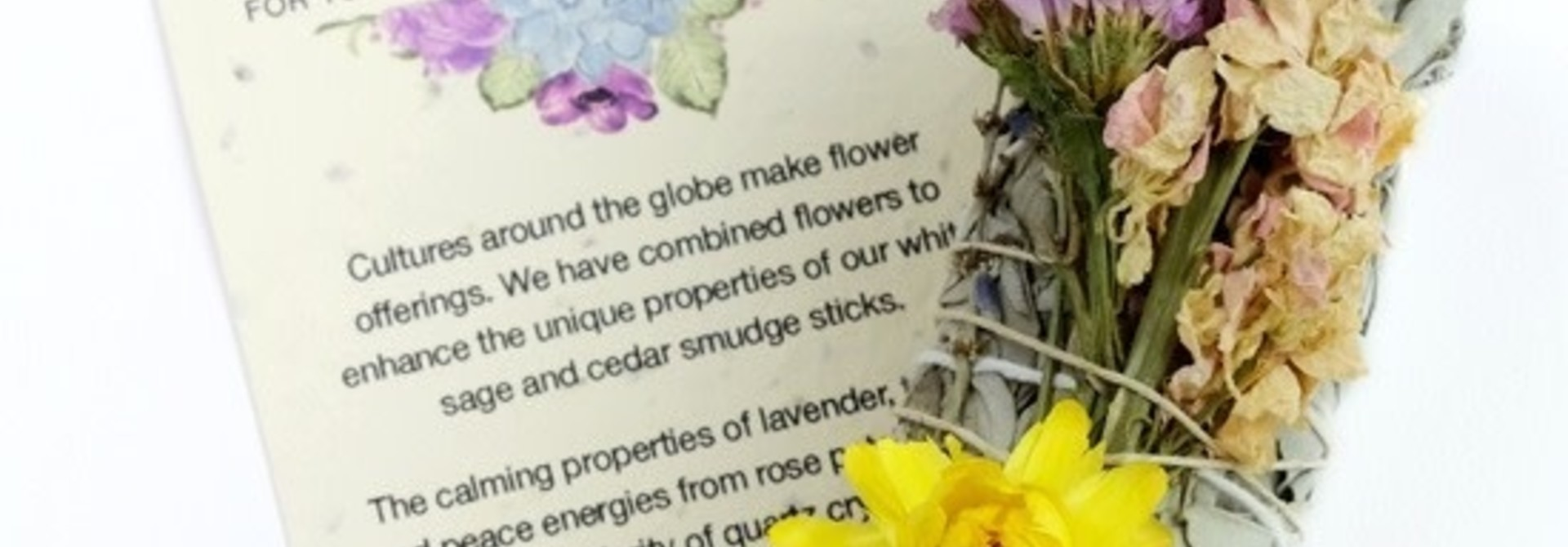 Botanical Smudge in small Sage with Lavender and Strawflower