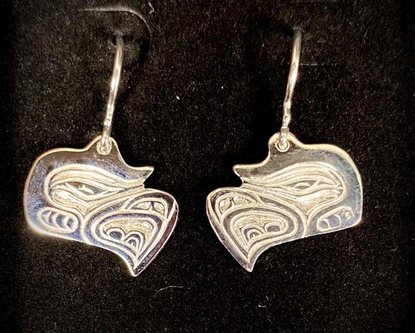 Silver Cast Eagle Earrings by Jadeon Rathgeber-2