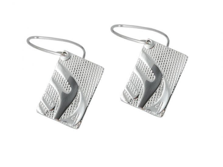 """Silver Pewter Earrings in """"Nexus"""" design by Corrine Hunt-1"""