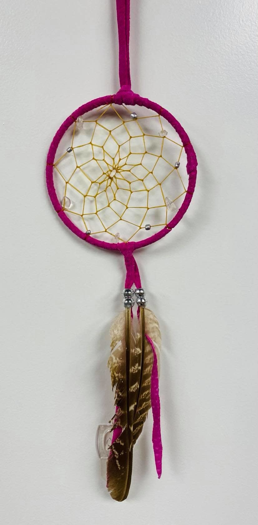 """3"""" Dream Catcher with assorted stones - Pink-1"""
