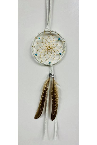 """3"""" Dream Catcher with assorted stones - White"""