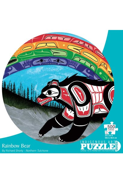 Round 500 Piece Puzzle - Rainbow Bear by Richard Shorty