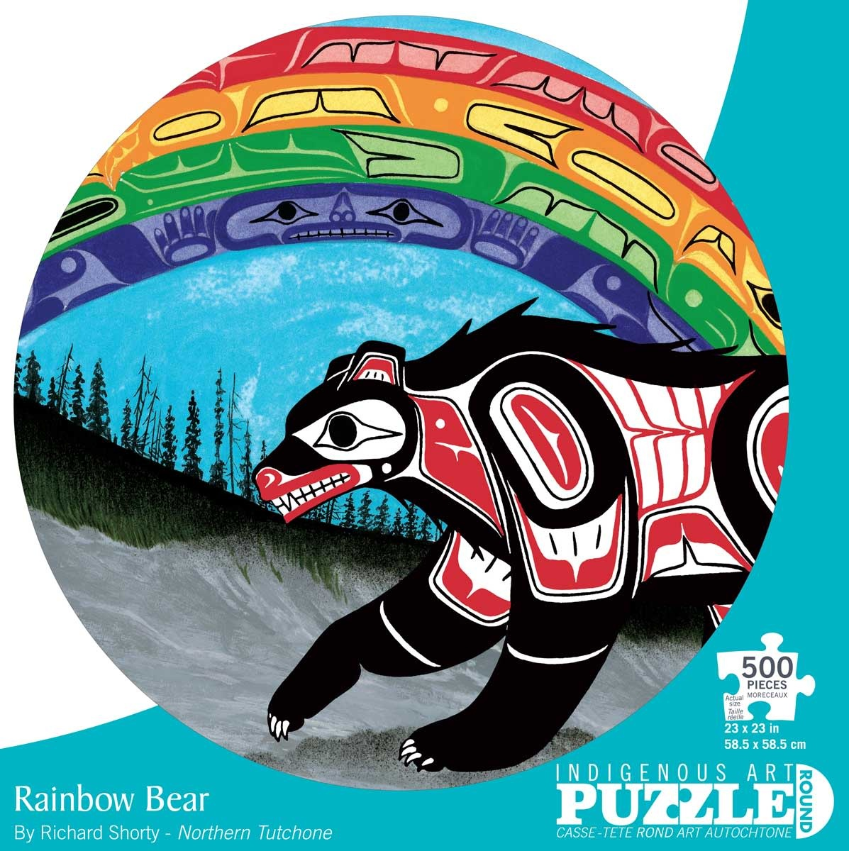 Round 500 Piece Puzzle - Rainbow Bear by Richard Shorty-2