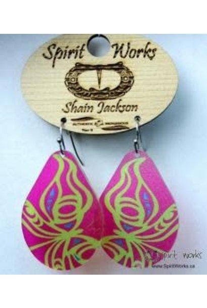Acrylic Earrings - Butterfly Pink & Green