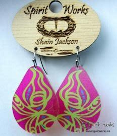 Acrylic Earrings - Butterfly Pink & Green-1