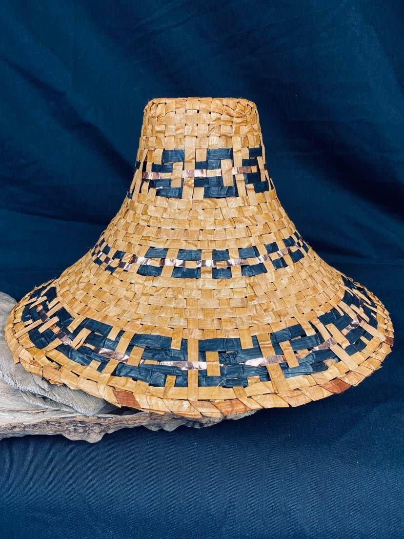 Traditional Cedar woven hat with Copper - by C. Chapman-1