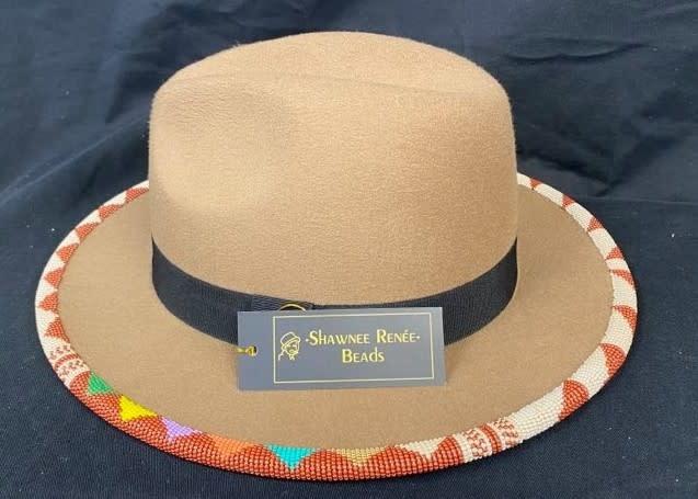 Tan Rainbow Beaded Hat by Shawnee Renee-1