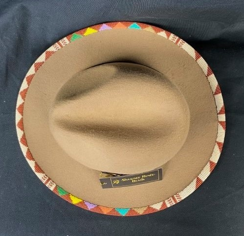 Tan Rainbow Beaded Hat by Shawnee Renee-2