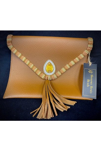 Beaded Tan Clutch Purse by Shawnee Renee