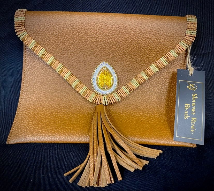 Beaded Tan Clutch Purse by Shawnee Renee-1