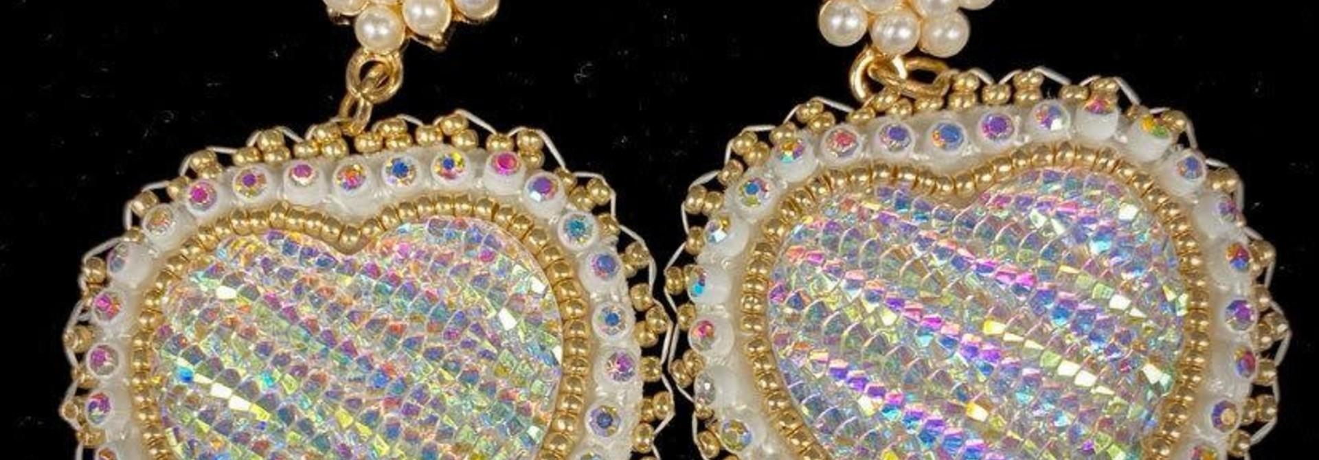 Hand Beaded Heart & Pearl Earrings by Shawnee Renee