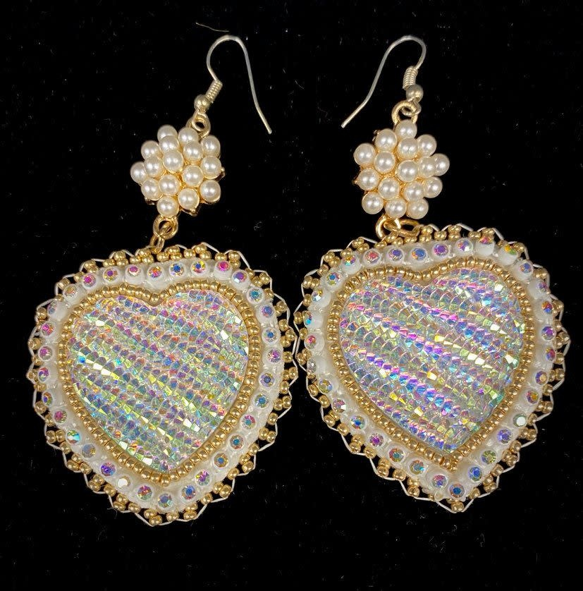Hand Beaded Heart & Pearl Earrings by Shawnee Renee-1