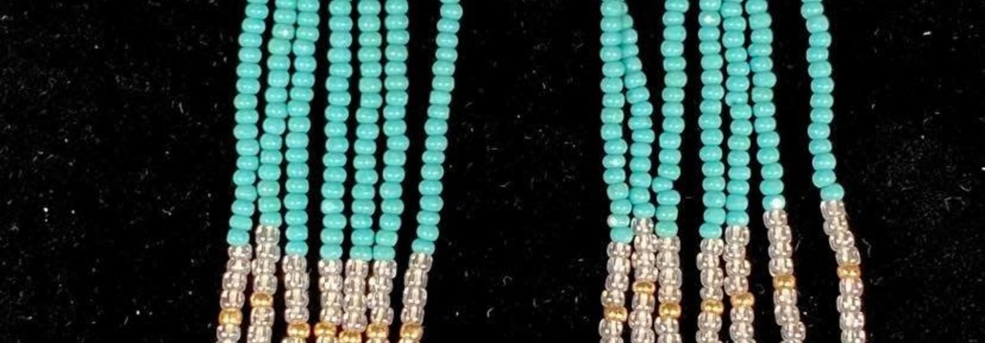 Hand Beaded Long Turquoise Yellow & Orange earrings by Shawnee Renee