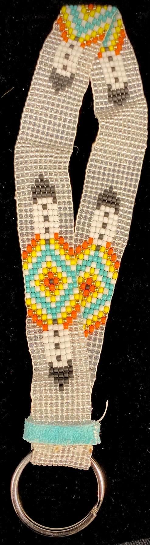 "7"" Beaded Silver Lanyard Key Chain by Shawnee Renee-1"