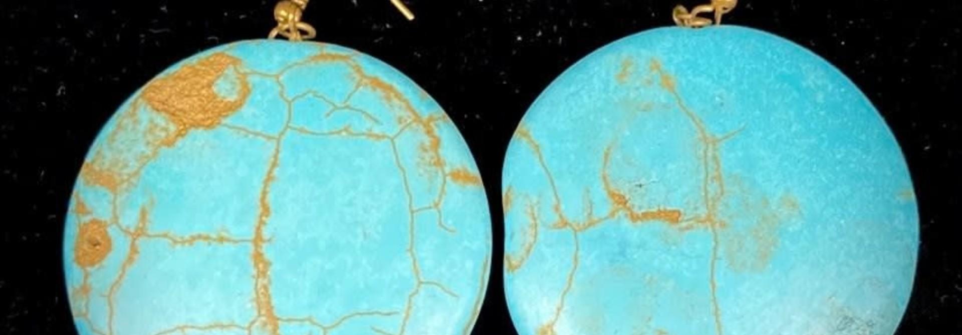 "1.75"" Solid Turquoise stone Earrings by Shawnee Renee"