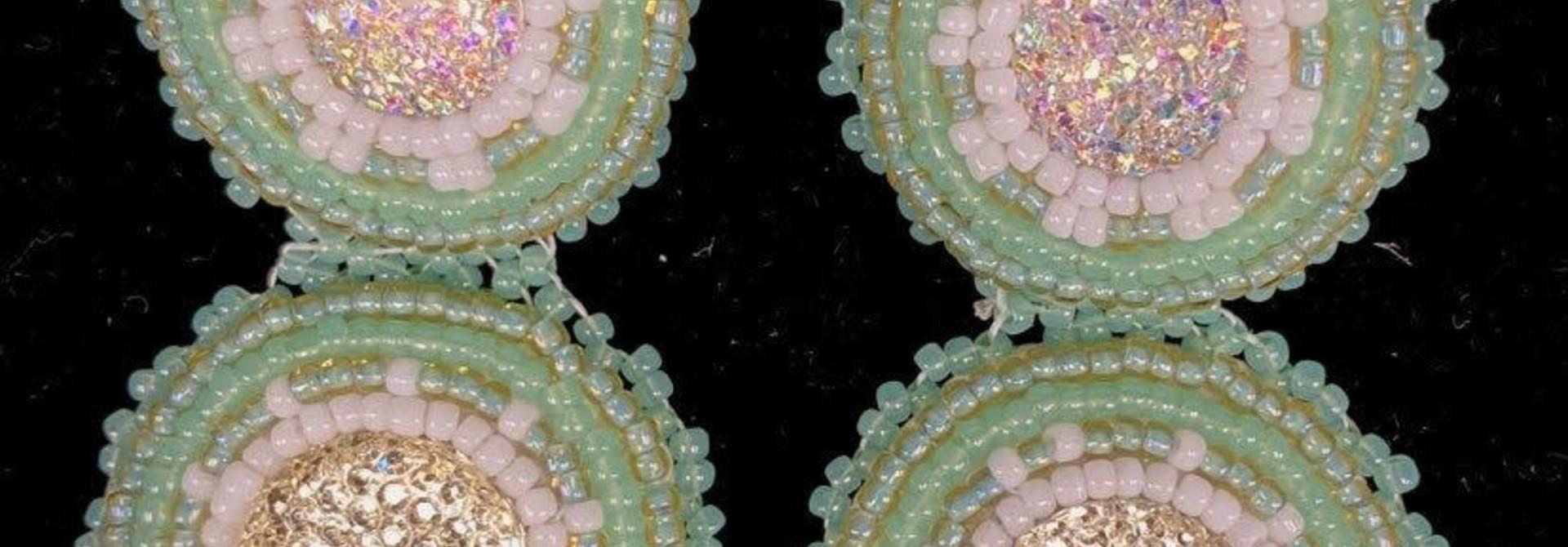 """2.75"""" Beaded Mint double stacked Earrings by Shawnee Renee"""