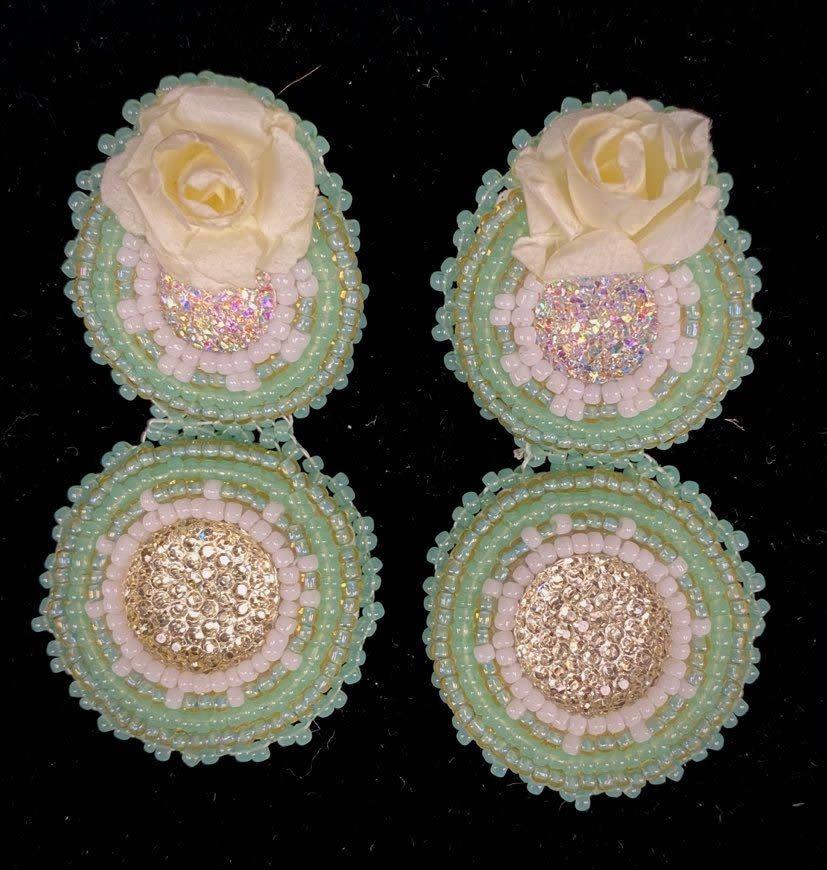 """2.75"""" Beaded Mint double stacked Earrings by Shawnee Renee-1"""