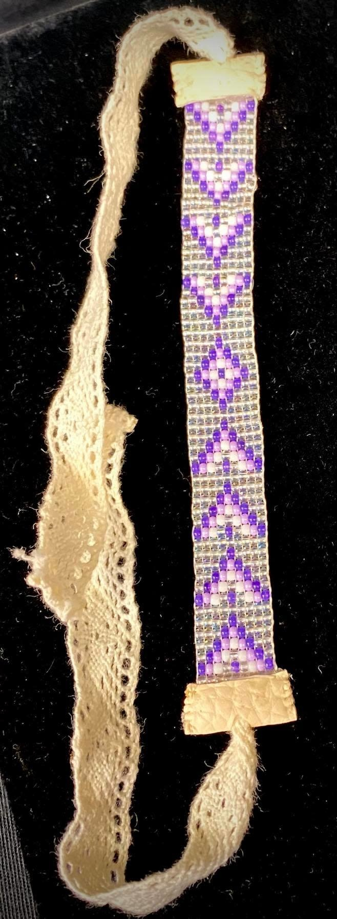 Beaded Loom Bracelet Purple by Shawnee Renee-1