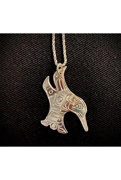 Hand Carved Silver  Hummingbird - Vincent Henson