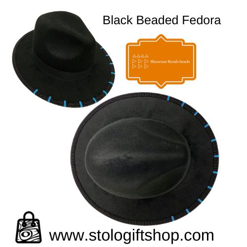 Shawnee Renee Beaded Fedora - Black & Turquoise-1
