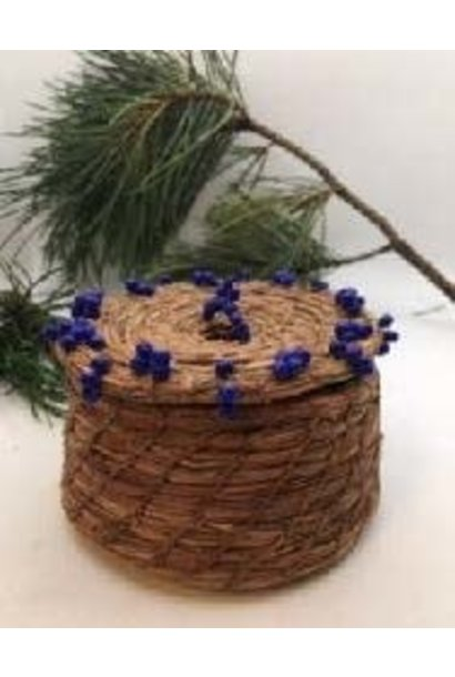 Pine Needle Basket with Blue beads.  by Patricia Raymond
