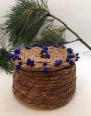 Pine Needle Basket with Blue beads.  by Patricia Raymond-1