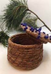Pine Needle Basket with Blue beads.  by Patricia Raymond-2