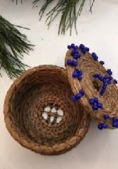 Pine Needle Basket with Blue beads.  by Patricia Raymond-3