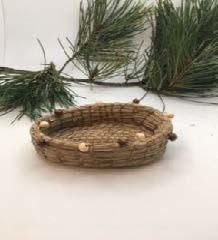 Pine Needle basket with brown / tan beads-1
